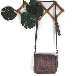 Liebeskind Brown Leather Woven Crossbody Bag Purse